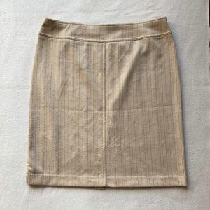 Beige Pinstripe Straight Skirt w/ Slit